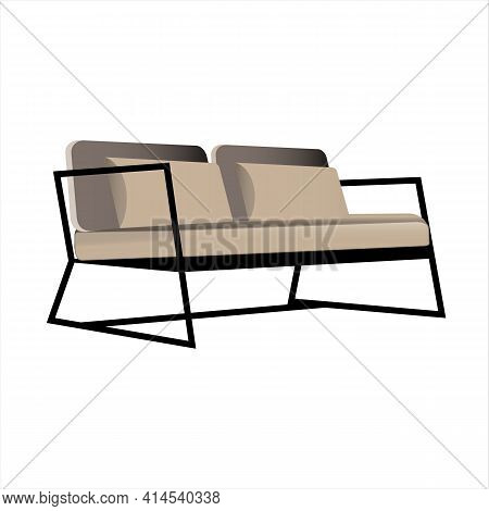Loft Style Sofa On A Metal Frame Isolated On A White Background. Vector