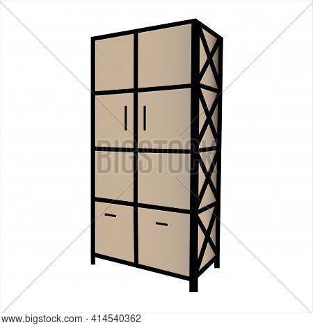 Loft Style Wardrobe Isolated On White Background. Vector Illustration. Wooden With A Metal Frame.