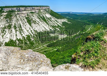White Rocks, Part Of Crimean Mountains, As It Looks From Top Of Cave City Chufut Kale, Bakhchisaray,