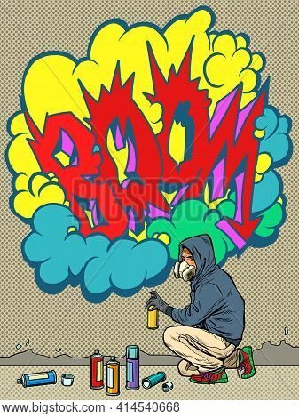 A Teenage Boy Draws A Graffiti Image Of The Tag Boom. Street Art
