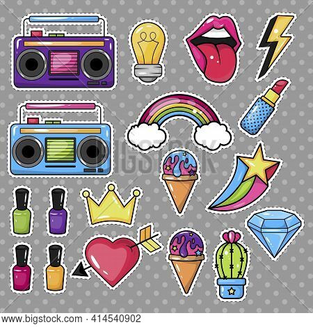 Illustration Isolated On A Colored Background. A Set Of Stickers, Badges, Patches In The Cartoon Sty