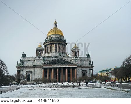 St. Petersburg, Russia, March 12, 2021 The Most Beautiful Issaac Cathedral In St. Petersburg, Marble