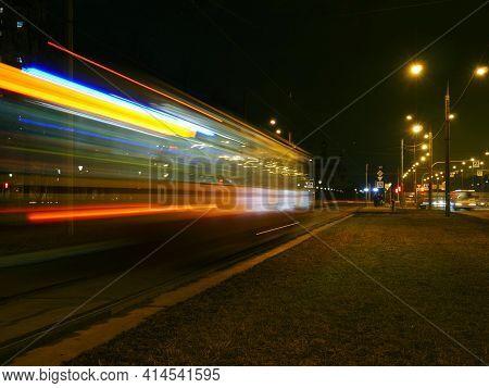 Tramway Night Tram Motion Blur Light Trails