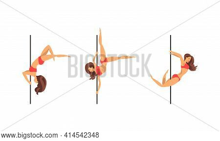 Young Pole Dancer Performing Acrobatics On Vertical Pole Vector Set