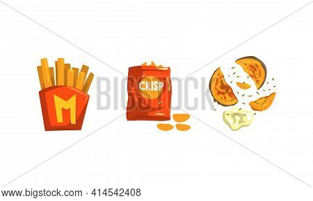 French Fries And Crunchy Crisps Or Chips As Food With Potato Ingredient Vector Set