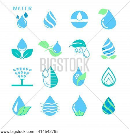 Vector Set Of Water Drop Icons On Leaves, Watering, Irrigation, On A White Background.