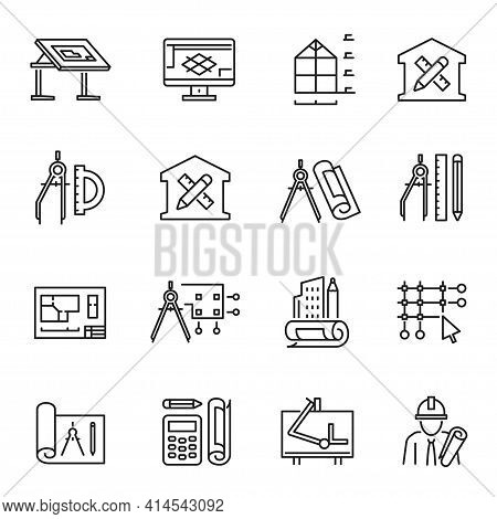 Collection Of Simple Monochrome Architectural Planning Icon Vector Construction Design Engineering