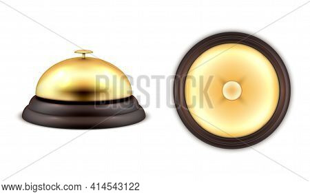 Realistic Gold Hotel Service Bell General Front Top View Vector Alarm Attention Calling Receptionist