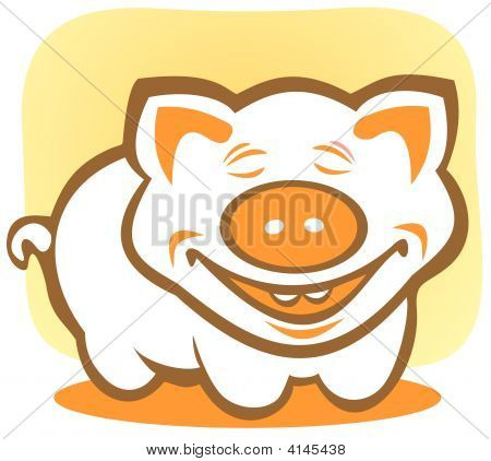Cartoon happy piggy isolated on a yellow background. poster