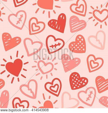 Hearts Seamless Pattern. Vector Love Red Pink Hand Drawn Background.
