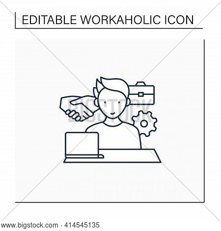 Workaholism Line Icon. Business Ethics.conduct Rules At Workplace. Workaholic Concept.isolated Vecto