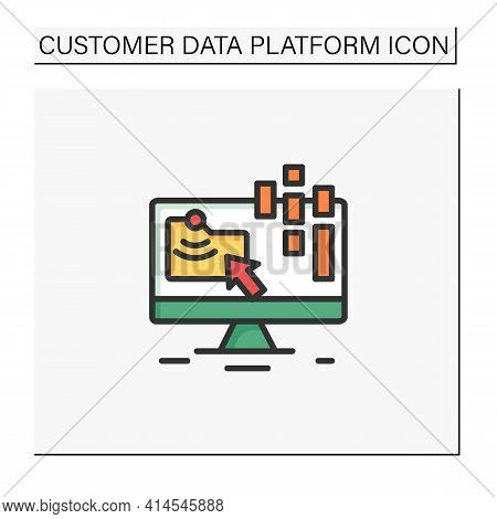 Collect Data Online Color Icon. Data Compiling, Account Information Gathering. Online Banking Compan