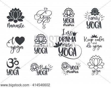 Set Of Yoga Symbols And Inscriptions. Lotus Flower And Om Yoga Logo. Vector Illustration