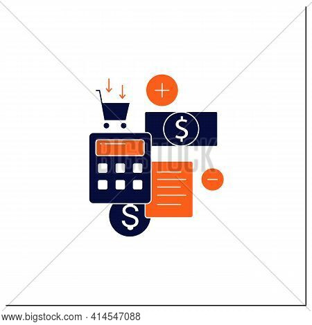 Budgeting Glyph Icon.creating Plan To Spend Money.rational Money Distribution.cash Counting.thoughtf