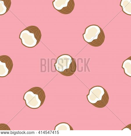Seamless Pink Pattern With Coconuts . Half A Coconut. Summer And Paradise Background. Wallpaper, Pri