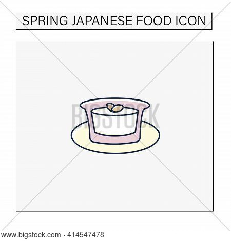 Almond Tofu Color Icon.traditional Japanese Dessert. Delicates. Annin Tofu.spring Japanese Food Conc