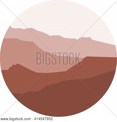 Mountains In A Circle, Landscape View In Mid-century Modern Style, Vector Illustration On White, Geo
