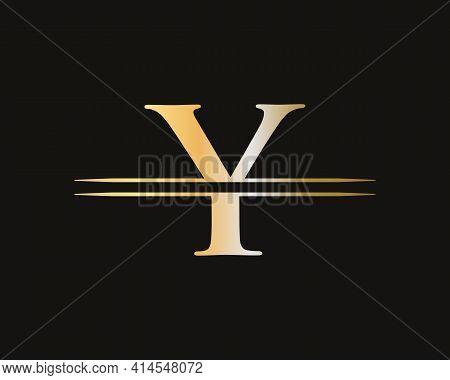 Y Logo Design Vector. Swoosh Letter Y Logo Design