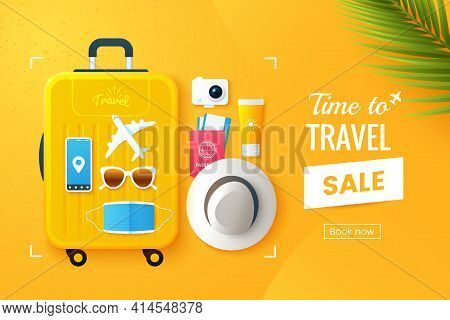 Summer Travel Vector Illustration. Flat Lay Composition With A Large Travel Suitcase, Hat, Sunglasse