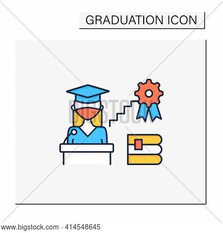 Academic Career Color Icon. Personal Growth. Motivation Speech. Work At University. Professor Career
