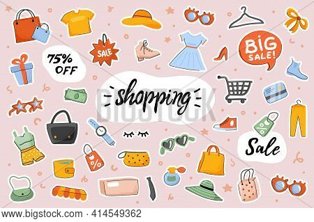 Shopping Cute Stickers Template Set. Bundle Of Clothes, Shoes, Accessories, Purchases Bags, Shop Ite