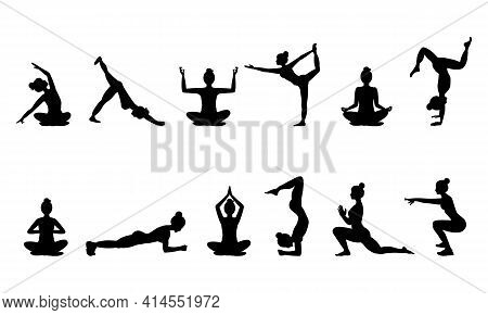 Set Of Black Silhouettes Of Woman In Different Yoga Poses, Isolated On White Background. Women Pract