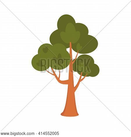 Cute Cartoon Tree Isolated On White Background. Stylized Deciduous Or Coniferous Tree As An Element