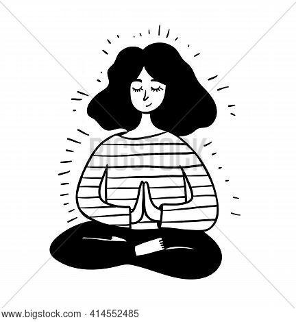 Women Meditation. Girl Sitting In Lotus Position. Hand Drawn Line Vector Stock Illustration. Concept