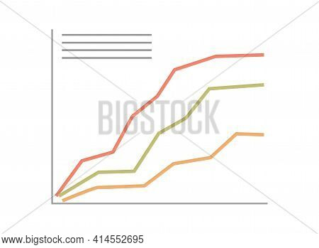 Abstract Financial Chart With Uptrend Line Graph Vector Flat Illustration. Political Election Result
