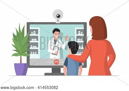 Online Medicine Consultation Vector Flat Illustration. Mother And Her Son Looking At Display And Con