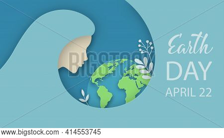 Earth Day Illustration Of Woman Silhouette With Planet Earth, Flowers And Herbs. Ecology, World Envi