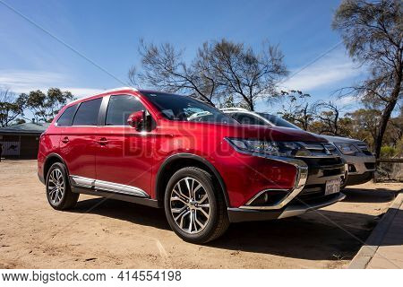 Hyden, Western Australia - July 1, 2018: Red Mitsubishi Outlander Suv With Chrome In Outback In West