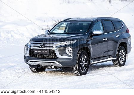 Moscow, Russia - February 17, 2021: All New Mitsubishi Pajero Sport. Facelifted Suv.   Winter, The C