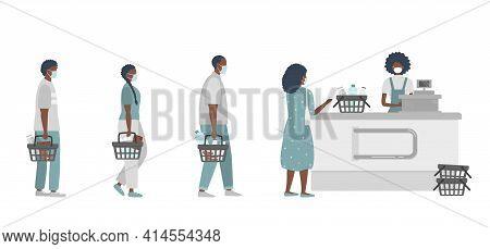 Supermarket During The Coronavirus Epidemic. Supermarket Cashier In Medical Mask. Buyers Wearing Ant