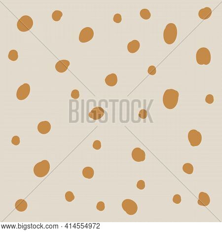 Doodle Gold Dots Of Different Sizes On A Dark Blue Background. Children's Fashion Beautiful Backgrou