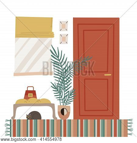 Cozy Home Entrance Hall Interior With Furniture - Closed Door, Window, Plant, Carpet, Banquet With C
