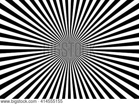 Optical Illusion. Deception. Abstract Futuristic Background From Black And White Stripes. Vector Ill