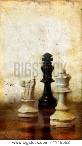 Chessmen On A Grunge Background