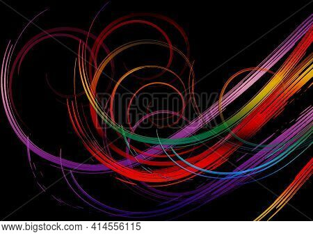 Black Background Is Covered With Bright Swirling Rainbow Stripes In  Purple, Orange,red, Yellow, Gre