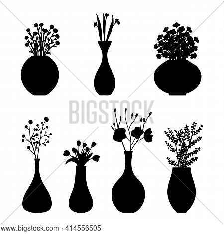 Set Of Flowers Siddets In A Vase. Vector Illustration. Isolated Elements On A White Background. Draw