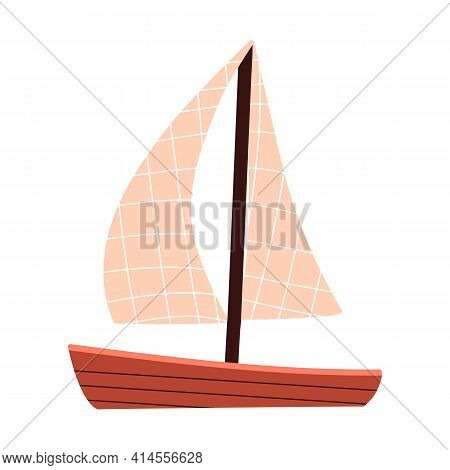 Wooden Ship With Sails. Small Toy Boat. Sea Transport. Vector Stock Illustration In Flat Style.