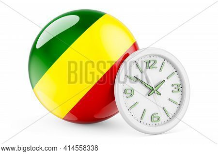 Congo Flag With Clock. Time In Congo, 3d Rendering Isolated On White Background