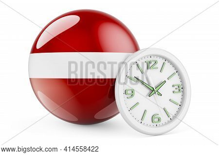 Latvian Flag With Clock. Time In Latvia, 3d Rendering Isolated On White Background