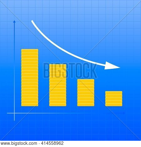 Coins Down Graph. The Concept Of Reducing Costs, Investment Expenses, Financial Crisis.