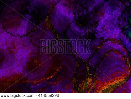 Abstract Mosaic Dark Background Of Falling, Intertwining Colored Waves Collected From Purple,brown,