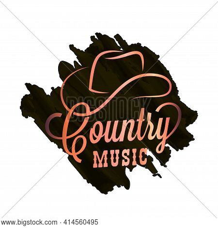 Country Music Watercolor Logo. Cowboy Hat Country