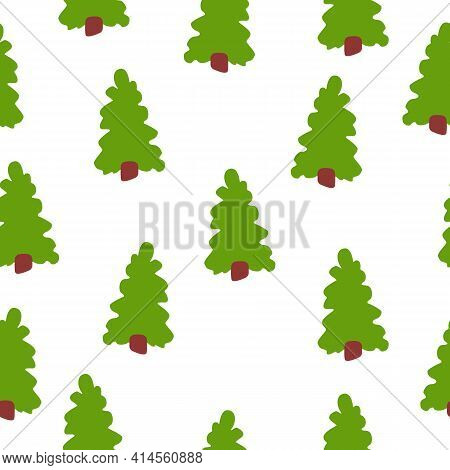 Vector Seamless Pattern With Green Fir Trees. Brown Trunk. White Background. Cartoon Style. Spring A