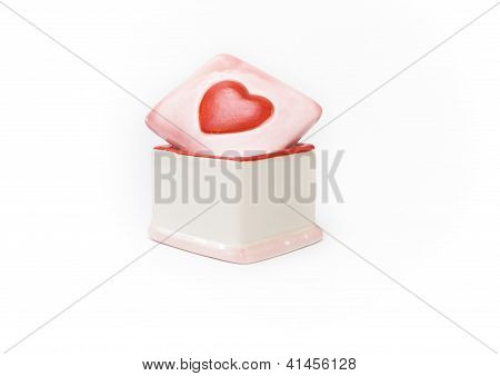Porcelain Box With Red Haerd Valentine's Day Gift