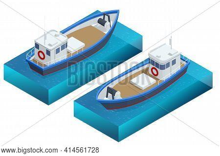 Isometric Fishing Schooner, Fishing Boat Or Ship, Isolated On White Background. Fishing Boat, Trawle
