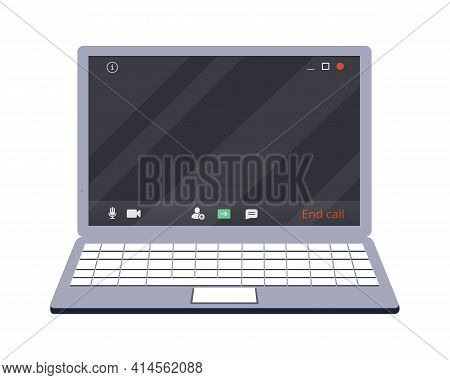 Laptop With Teleconference Device Icon. Online Class. Stay School Learn Study From Home Via Teleconf